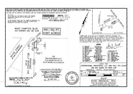 Survey - Corner Wade Hampton & Bella Michele Ave