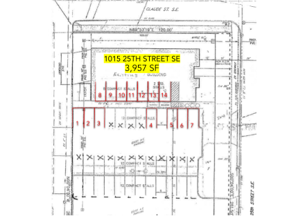 Highlighted in Red: 14 Parking Stalls | 7 Enclosed Parking Stalls | 7 Surface Parking Stalls