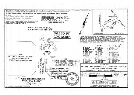 Survey - Corner Wade Hampton & Freebird Blvd